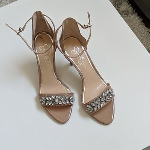 NEW nude patent leather heels with jewels